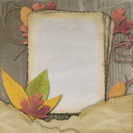 antiquarian: Old grunge card on the abstract background with autumn leaves.