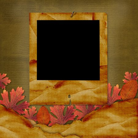 Old grunge card on the abstract background with autumn leaves. photo