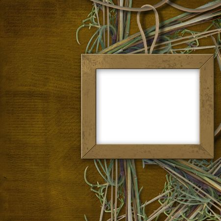 Wooden frame for photo, on the abstract background with grass photo