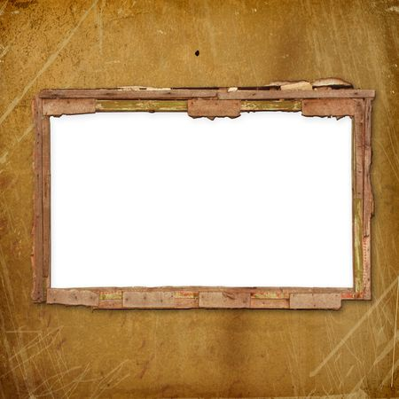 Old frame for photo or invitations attached to wooden wall photo