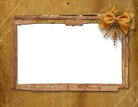 Old window on the antique background with metal  nail photo
