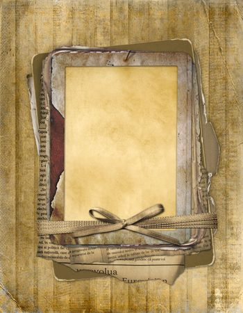 Old grunge frame on the abstract background with bow photo
