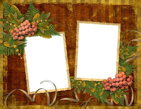 lacet: Old grunge card on the abstract background with autumn leaves Stock Photo