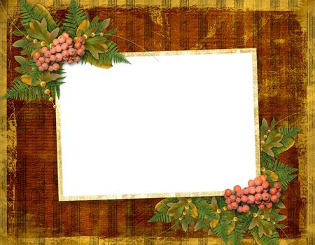 Old grunge card on the abstract background with autumn leaves photo