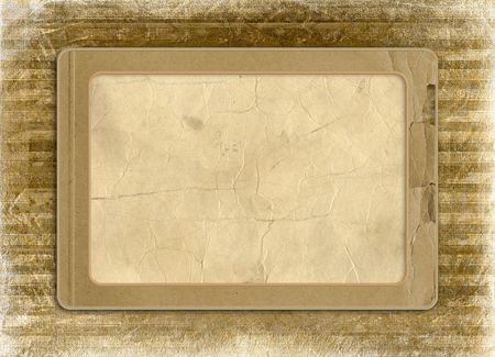 antiquarian: Grunge alienated frame from old paper on the striped background Stock Photo