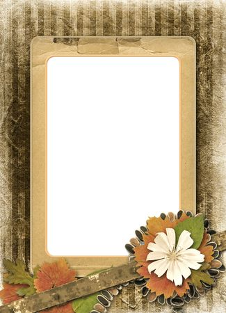 alienated: Herbarium of flowers and leaves on the floral background with frame and necklace