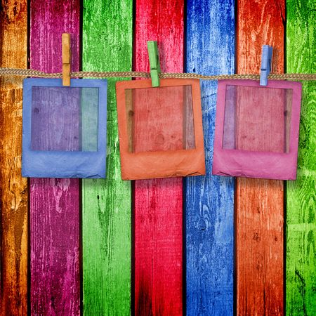 Old slides on the multicolor wooden background Stock Photo - 5501015