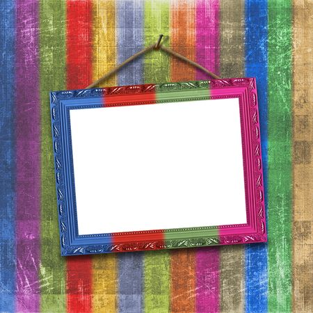 Wooden multicolored framework for portraiture on the striped background Stock Photo - 5501014