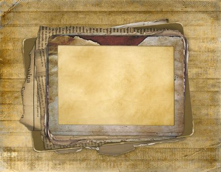 Old grunge frame on the abstract  antiquarian background photo