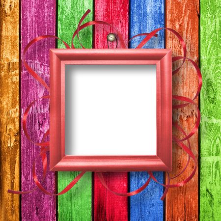 Wooden framework for portraiture on the abstract background with ribbon  photo