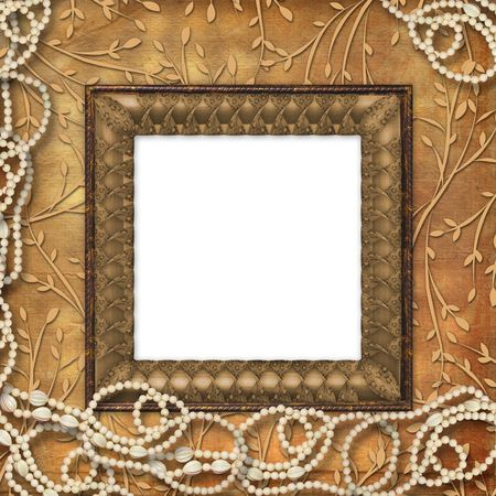 leafage: Wooden frame with beads on the leafage ornamental background