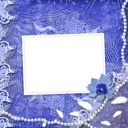 leafage: Frame for photo with pearls and lace on the leafage ornamental background