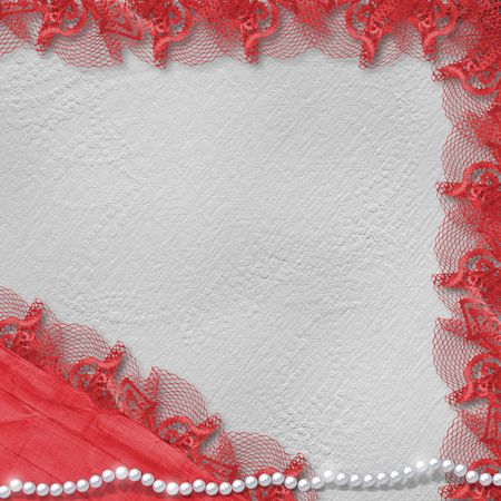 crushed: Card for anniversary or congratulation with pearls and red lace