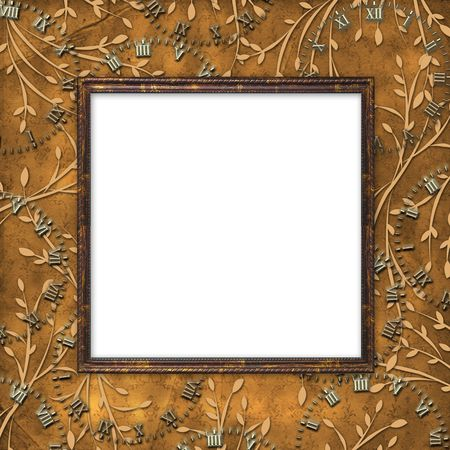 leafage: Wooden frame on the leafage ornamental background
