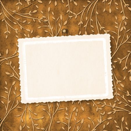 ornamente: Old grunge card on the leafage ornamental background Stock Photo