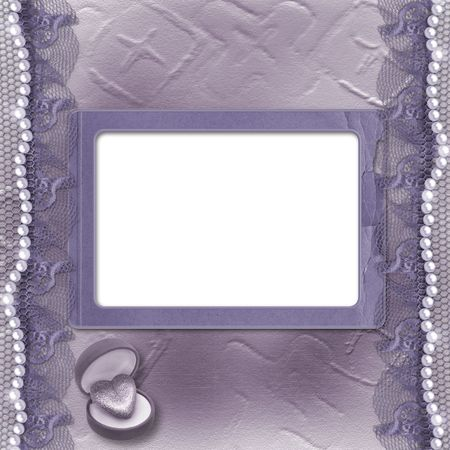 Grunge lilac card for invitation or congratulation with pearls and lace photo