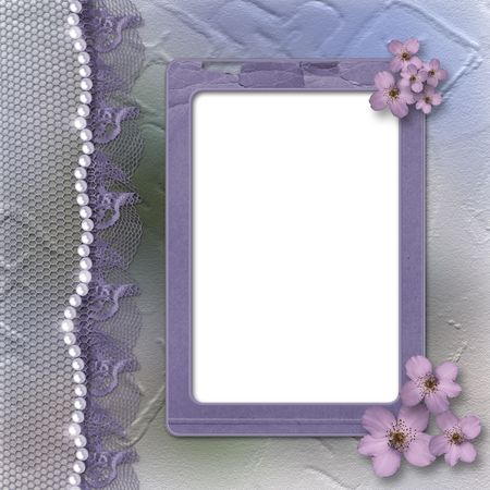 flower frame: Grunge lilac frame for photo with pearls, flowers and lace