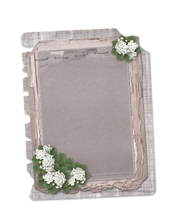 Grunge papers design in scrapbooking style on the white isolated background with flowers Stock Photo - 5552789