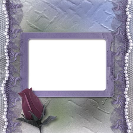 Grunge lilac card for invitation or congratulation with pearls, rose and lace photo