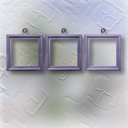 suspend: Three wooden lilac frameworks for portraiture on the abstract background