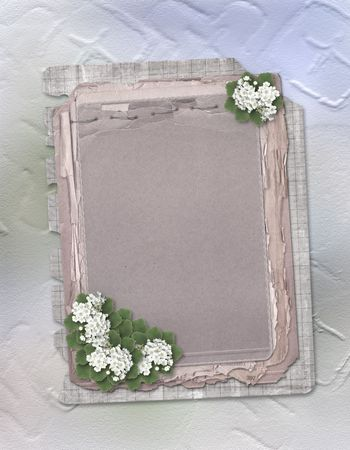 Grunge papers design in scrapbooking style on the white abstract background with flowers Stock Photo - 5552793