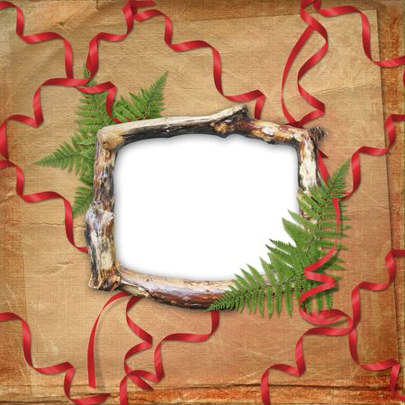 Wooden frame for picture or photo with bunch and streamer photo
