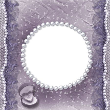 Grunge lilac card for invitation or congratulation with pearls and lace Stock Photo - 5570549