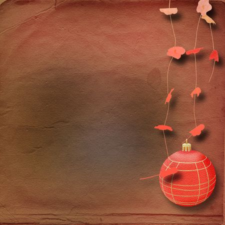 Abstract New Years background with red sphere and flowers photo