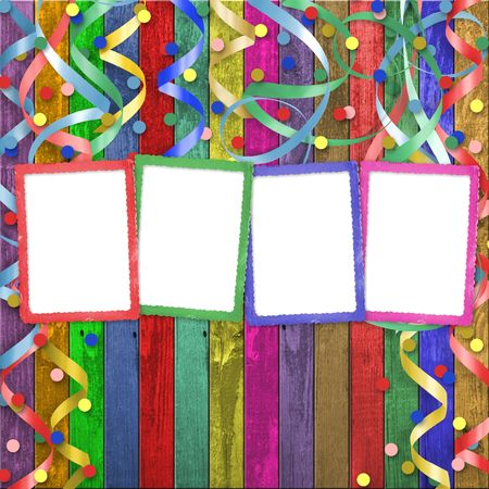 lacet: Four multicolored frames on the abstract wooden background
