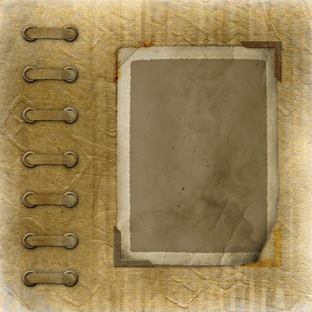 ornamente: Old photoalbum with two grunge frame for photos Stock Photo