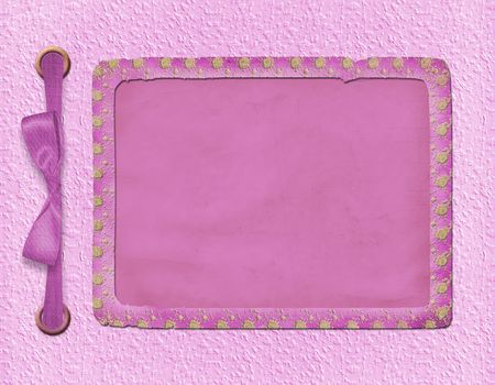 Framework for a photo or invitations. A pink bow. A beautiful background. photo