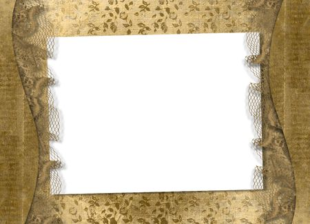 scrap gold: Old grunge paper on the abstract background with lace