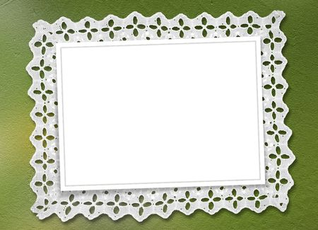 abloom: Green abstract background with frame and  beautiful lace