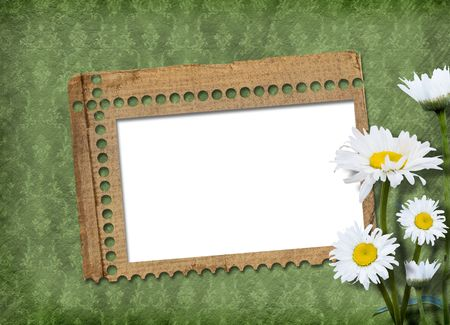 abloom: Green abstract background with frame and floral beautiful bouquet