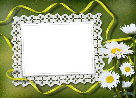 Green abstract background with frame and floral beautiful bouquet photo