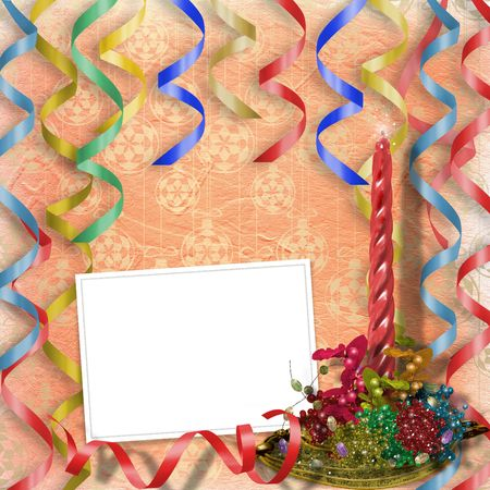 lacet: Festive invitation or greeting with ribbons and sphere
