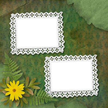 abloom: lace frames with bunch of flower and blade