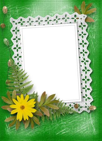 oxeye: lace frame with ribbons and beads for photo