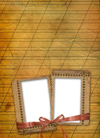 crushed: Old grunge frame with ribbons and bow on the abstract background Stock Photo