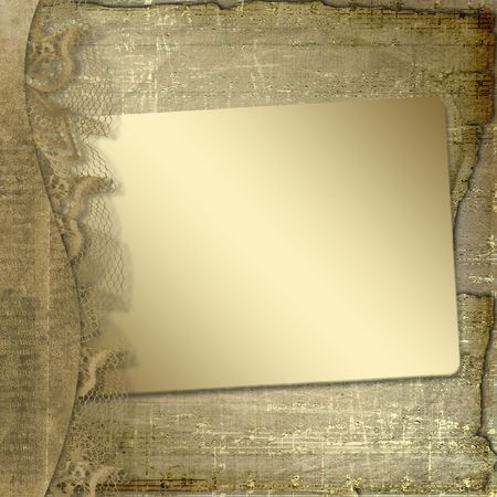 Grunge frame with ribbon and bow on the abstract background  photo