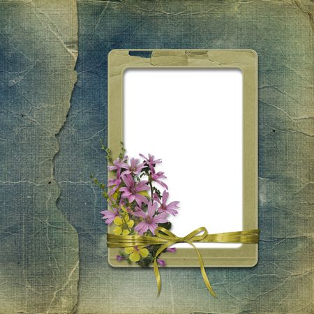 Old photoalbum with grunge frame and bunch of flowers for photos Stock Photo - 5648783
