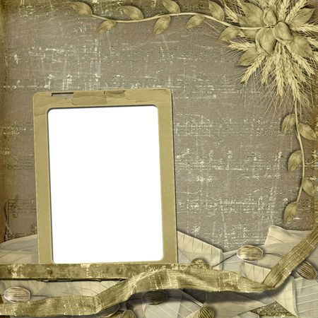 withered: Grunge frame in scrapbooking style with bunch of rose