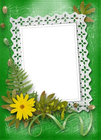 lace frame with ribbons and beads  photo