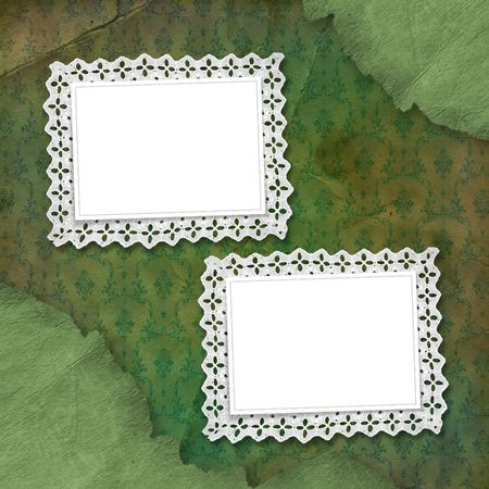 snowwhite: Old grunge frames with lace on the abstract background Stock Photo