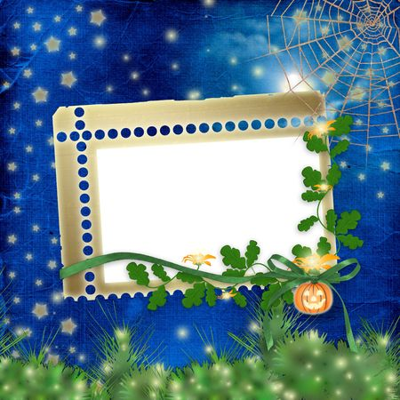 Frame with pumpkin and flowers on the nightly background photo
