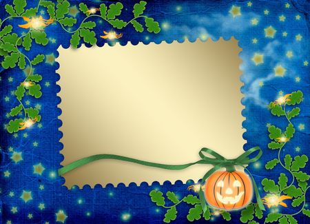 cucurbit: Frame  with pumpkin and flowers on the nightly background