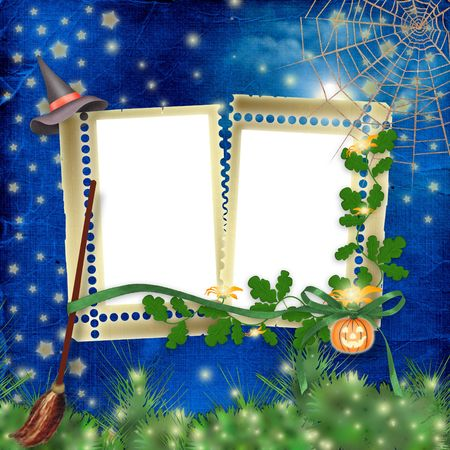 nightly: Frame with pumpkin and flowers on the nightly background