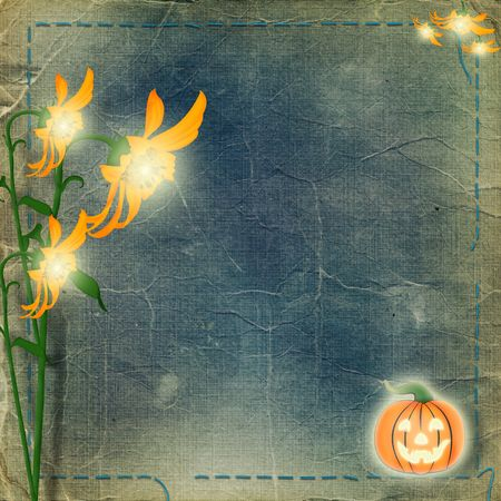 Frame  with pumpkin and flowers on the nightly background Stock Photo - 5681688