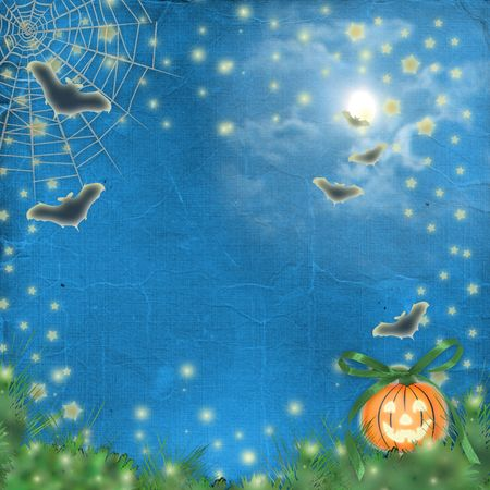 nightly: postcard holiday with pumpkin and flowers on the nightly background Stock Photo