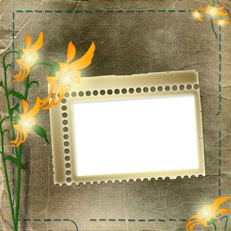 Frame with flowers on the shabby background Stock Photo - 5681708